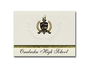 """标志性公告奥拉特北高中(羊绒,KS)毕业通知,总统风格,25 只装,带金色和黑色金属箔印章 Onalaska High School (Onalaska, WA) 6.25"""" x 11.44"""" 奶油色"""