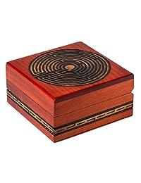 工匠猫头鹰抛光手工迷宫设计木制盒子红色内饰,非常适合用于纪念品和特殊物品