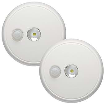 美国Mr.Beams MB982电池供电室内/室外运动传感LED吸顶灯 白色 2件装