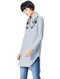 Find 女式花卉刺绣条纹衬衫