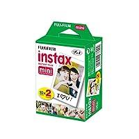 Fujifilm INSTAX 迷你即时胶片 2 包 = 20 张(白色),适用于 Fujifilm Mini 8 和 Mini 9 相机