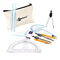 几何和指南针数学套装 - 15 件,包括尺子、助推器、隔音器、套装方格、指南针和手提包 - 学生和教师的完美学校用品