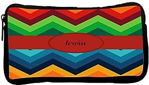 Rikki Knight Irwin 名字秋色粗 V 形图案氯丁橡胶铅笔盒(深灰色-Neo-pc45320)