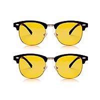 优质游戏眼镜和电脑眼镜 - 数字眼部应变缓解眼镜可阻挡蓝光,减少眼部应变,男女均能防紫外线 5.4 x 5.5 x 1.6 inches