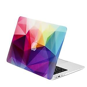 """顶盒 - 彩色几何抽象 3D 三角形图案橡胶硬质保护套兼容 Apple MacBook Macbook Air 11"""""""