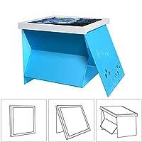UPCABINET 隐藏式浴室防水收纳盒,多功能可折叠容器,带装饰画 蓝色