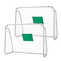 VIVOHOME 2 件装 4 x 3 英尺运动足球曲棍球门适用于后院铁杆,适用于所有天气的防寒网,中心适用于儿童
