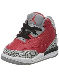 Nike 耐克 男童 Jordan 3 Retro Se (td) 篮球鞋,火红色/火红色-泥灰-黑色,27 EU