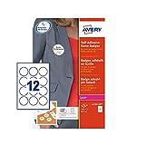 Avery L4781-20 圆形自粘姓名徽章,每张 12 个徽章,240 个徽章,白色