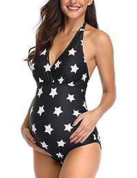 孕妇印花泳衣一体式 V 领孕妇泳装吊带孕妇比基尼