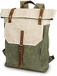 Jeelow 帆布笔记本电脑背包男女复古皮革休闲旅行大号书包 白色