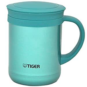 TIGER 虎牌 CWM-A035-AM办公型不锈钢真空带滤网保温泡茶杯350ml 高光银蓝色