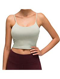 Lemedy 女士加垫运动文胸健身健身跑步衬衫瑜伽背心