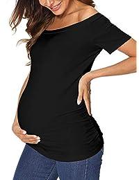 女式孕妇 T 恤短袖露肩侧褶皱孕妇上衣