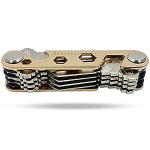 KEYTEC 紧凑型钥匙整理器(12-16 个钥匙)- 带内置工具的高级钥匙扣 - 开瓶器/电话支架 - 黑色框架和防松洗圈架 - *礼物 金色