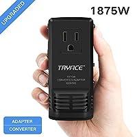 tryace 1875W 通用旅行适配器和转换器组合220V 转110V 国际电压转换器适用于吹风机一体化插头8A MAX 适配器壁挂式 Charge 英国/AU/us/eu