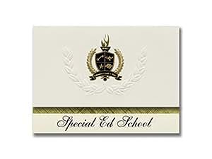 标志性公告 特立学校(Enumclaw,华盛顿州)毕业公告,总统风格,25 件装基本包装带金色和黑色金属箔封条