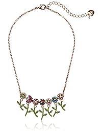 Betsey Johnson 女士多彩宝石花朵和贝蒂前部项链 粉红色 均码