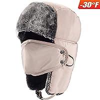 mysuntown 冬季 Trooper trapper 帽子狩猎翻毛帽耳瓣引体向上表带男女