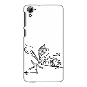 AMZER 修身款手工制作设计师印花硬质手机壳后盖带屏幕清洁套件皮肤适用于 HTC Desire 826 Sea Shells- Transparent