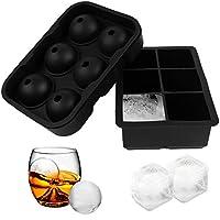 2 件裝硅膠冰塊模具和球形冰模-威士忌圓形冰球制作器冰塊托盤適用于威士忌、雞尾酒、波旁酒等