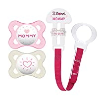 MAM 2 Count Love and Affection Mommy Silicone Pacifier with Clip 粉红色 0-6 个月