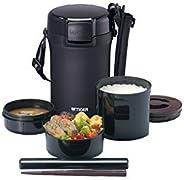 虎牌 暖瓶 保溫 飯盒 不銹鋼 午餐 闊口保溫瓶 碗 約4碗 黑色 LWU-A202-KM Tiger