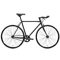 State Bicycle 4130 - 哑光黑色 | 双锁级铬钼钢 - 固定齿轮/单速 | 59 厘米斗牛角