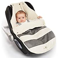 Wallaboo Universal Footmuff for Car Seat Stroller Pushchair, Grey Striped
