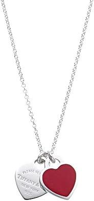 [蒂芙尼] TIFFANY 純銀×紅漆 手工 RTT 迷你 雙心 吊墜 項鏈 41~46cm 【平行進口商品】 63520594