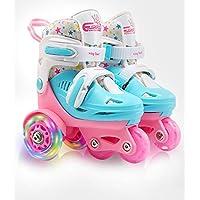可调节轮滑轮适合儿童女孩女士,带发光闪烁 LED 轮(3 - 9 岁),趣味照明,三点式平衡,礼品盒包装,适合幼儿、儿童、青少年和青少年