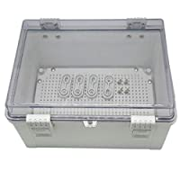 Zulkit 接线盒 ABS 防尘防水 IP65 电箱铰链外壳户外通用项目外壳灰色透明外壳带锁和安装板 11.8 x 7.9 x 6.3 英寸(300 x 200 x 160 毫米)