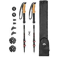 Cascade Mountain Tech 耐用 3K 碳纤维轻质登山杖,带软木手柄和快速锁扣