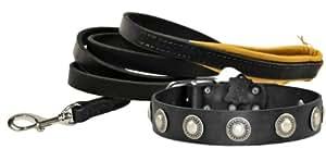 Dean & Tyler 30 x 1-1/2 英寸简单珍宝项圈搭配柔软触感 6 英尺皮带,不锈钢扣钩 黑色 XL