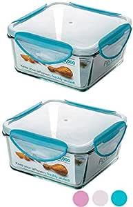 ClipFresh Airtight 烤箱*玻璃食品保鲜盒,不含 BPA 锁定盖 蓝* 5.5- Cup (Pack of 2) CFGL5107/2B