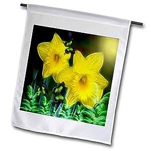 3dRose 黄色春季花瓣花园旗,30.48 x 45.72 cm