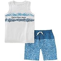 Calvin Klein 婴儿男孩 2 件无袖上衣与短裤套装