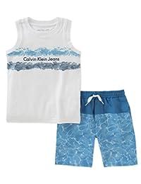Calvin Klein 男孩2件无袖上衣短裤套装