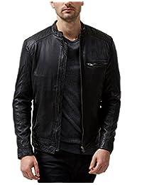Absolute Leather 男式 Sparta 黑色经典羊皮夹克
