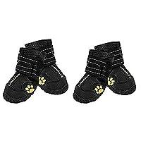 "EXPAWLORER 防水狗靴反光防滑宠物短靴适用于中大型犬黑色 4 件 黑色 3(2.4""x1.8"")"