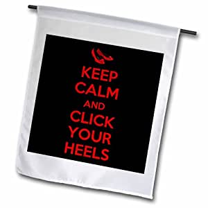 3dRose fl_194339_2 Keep Calm and Click Your Heels 花园旗帜,45.72 x 68.58cm