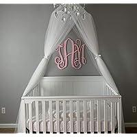 OldPAPA 公主床罩女孩带儿童圆形蕾丝圆顶网格窗帘蚊帐适用于婴儿床至双人床女孩床 白色 M1-MY-WZ00049
