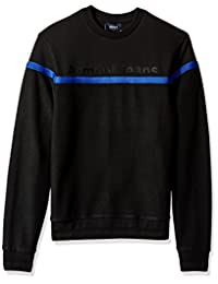 ARMANI JEANS 男式加大码棉羊毛运动衫,饰有条纹细节和正面标志