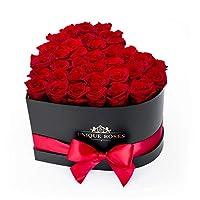 心形包装盒中的真保存玫瑰 - 手工长久花朵 - 玫瑰盒 - 她生日、周年纪念日、情人节的豪华礼物 红色
