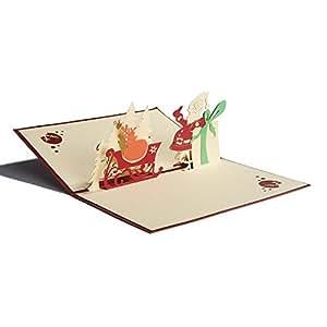 3D 圣诞活页卡片假日卡片手工贺卡带信封 G PP-Christmas Card