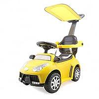 A+B 三合一学步车 多功能带护栏手推车 儿童可坐滑行车助步车童车 7835黄色带敞篷