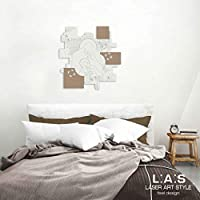 L:A:S 激光艺术风格圣家庭现代床板,适用于卧室、木头、桦木、68x70 厘米