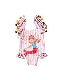 幼童女童连体泳衣比基尼条纹流苏火烈鸟/美人鱼分体泳衣沙滩装泳衣