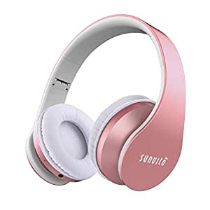 Sunvito Over Ear Bluetooth Headphone,Foldable Portable Stereo Bass Wireless Earphones 4 in 1 Headsets Support TF,MP3 Player,FM Radio,Wired Headset for iPhone Samsung,iPod,Andriod,Laptops Rose Gold