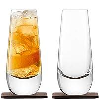 LSA International 威斯基伊斯兰教混合器玻璃(2 只装),11 液体盎司 盎司,透明/核桃